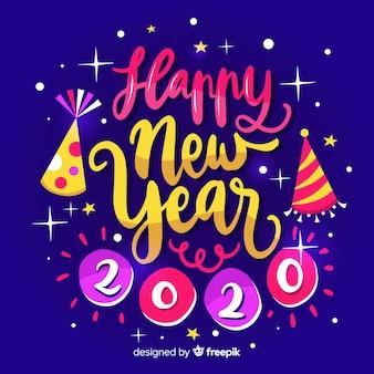 Feliz ano novo 2020 caligráfico