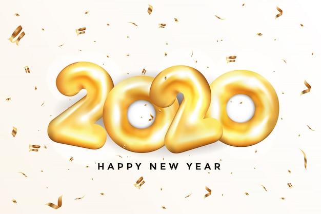 Feliz ano novo 2020 cartão - balões de ouro