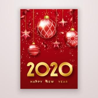 Feliz ano novo 2020 cartão com brilhantes algarismos, estrelas, confetes, bolas