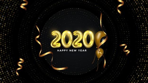 Feliz ano novo 2020 cartão com fitas