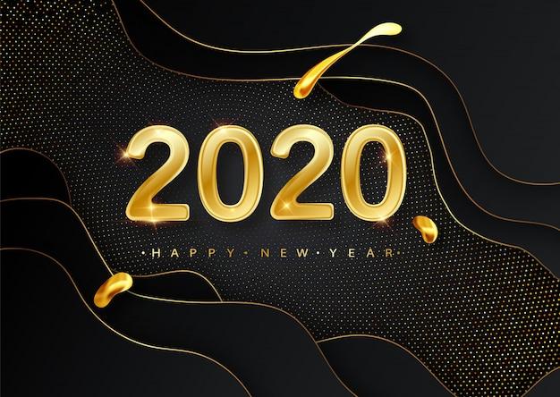 Feliz ano novo 2020 cartão com números dourados no preto