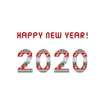 Feliz ano novo 2020 cartão com padrão de natal