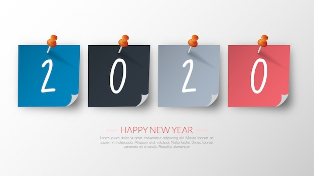 Feliz ano novo 2020. cartão de boas vindas.