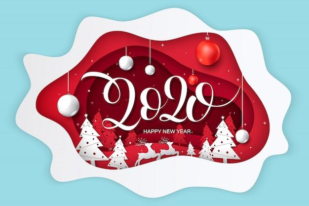 Feliz ano novo 2020 cartão, design com estilo de arte e artesanato de papel.