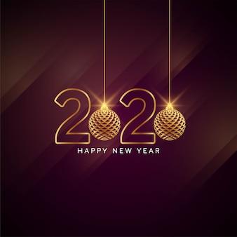 Feliz ano novo 2020 cartão elegante