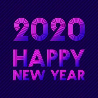 Feliz ano novo 2020 cartão em estilo neon