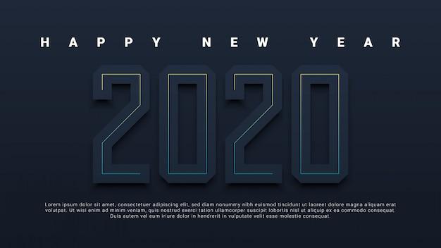Feliz ano novo 2020 cartão em fundo preto
