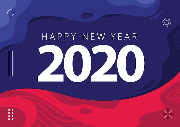 Feliz ano novo 2020 cartão fundo abstrato roxo magenta rosa