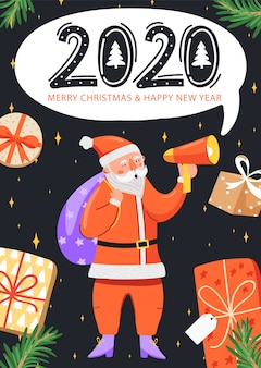 Feliz ano novo 2020 cartão.