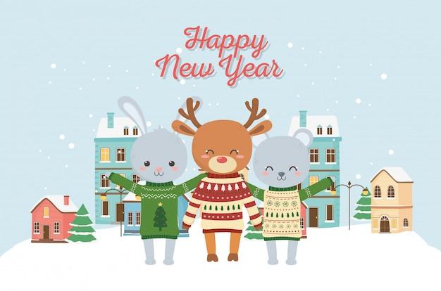 Feliz ano novo 2020 celebração bonito veado coelho urso cidade semeada