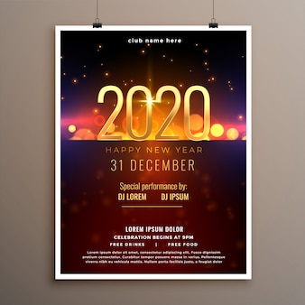 Feliz ano novo 2020 celebração panfleto ou modelo de cartaz