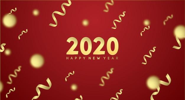 Feliz ano novo 2020 com efeito dourado em vermelho