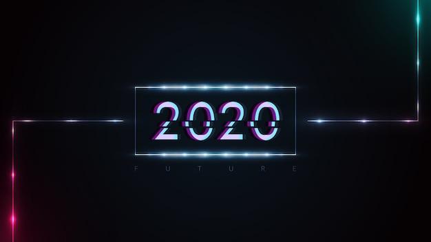 Feliz ano novo 2020 com efeitos de falha e luzes de néon brilhantes futuristas