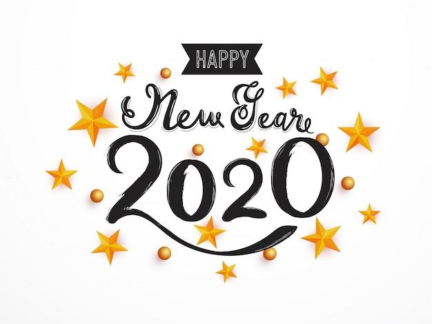Feliz ano novo 2020 com estrelas e esferas 3d em branco