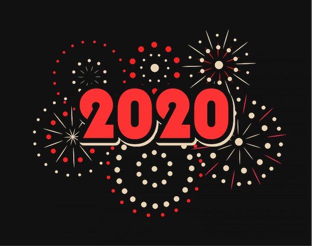 Feliz ano novo 2020 com fogos de artifício