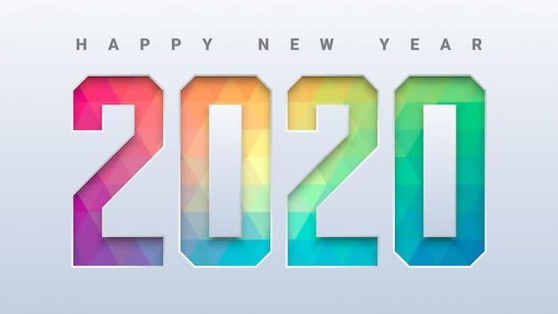 Feliz ano novo 2020 com fundo colorido baixo poli