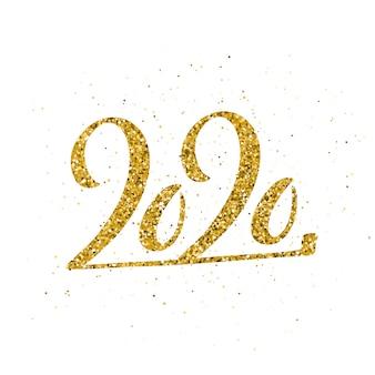 Feliz ano novo 2020 com letras de mão desenhada.