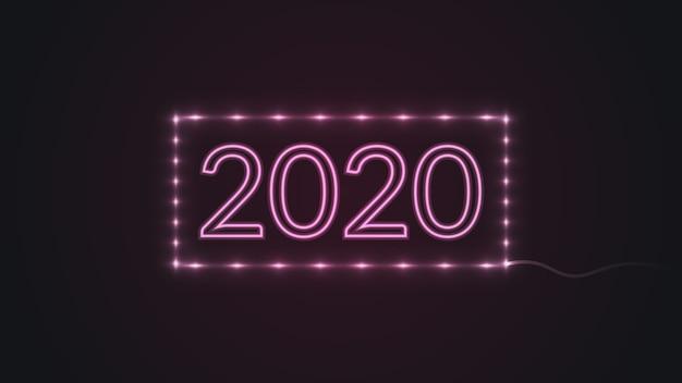 Feliz ano novo 2020 com luzes de néon brilhantes