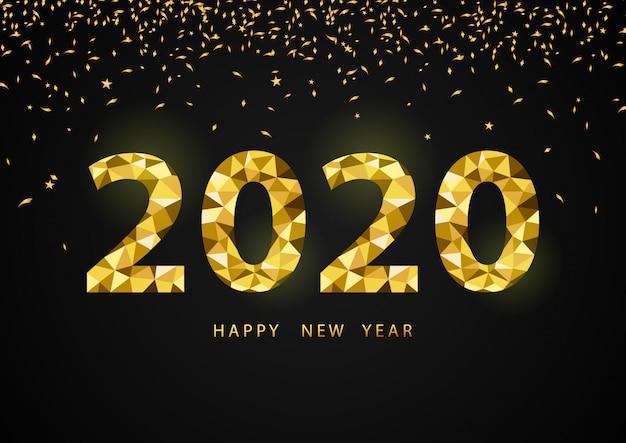 Feliz ano novo 2020, com número de polígono dourado 2020.