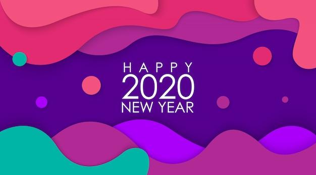 Feliz ano novo 2020 com papercut colorido