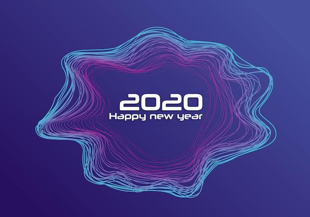 Feliz ano novo 2020 concêntrico formas onduladas fundo