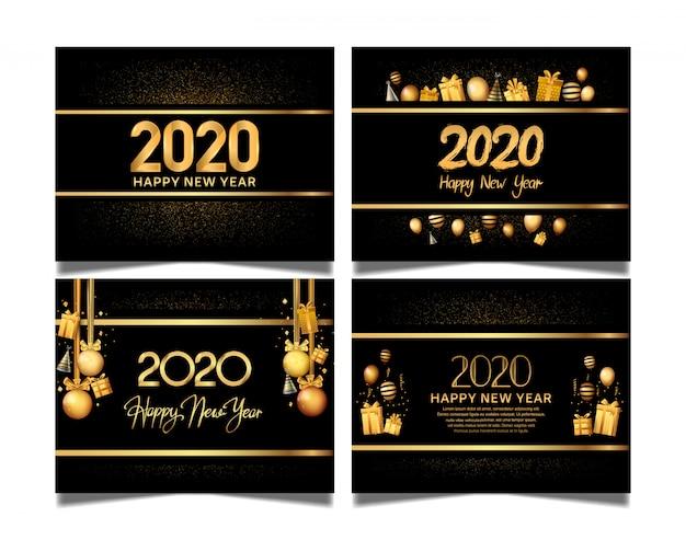 Feliz ano novo 2020 conjunto com cor dourada premium edition