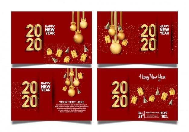 Feliz ano novo 2020 conjunto com fundo vermelho premium