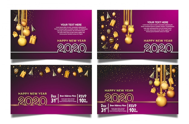 Feliz ano novo 2020 conjunto de papel de parede com fundo roxo