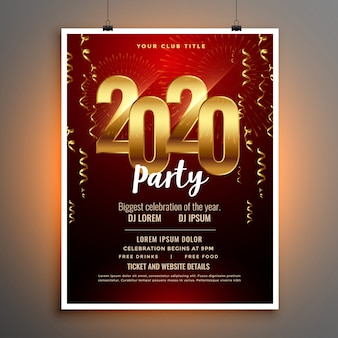 Feliz ano novo 2020 convite panfleto ou modelo de cartaz