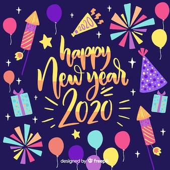 Feliz ano novo 2020 de letras coloridas