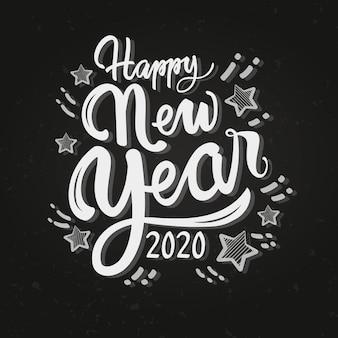 Feliz ano novo 2020 de letras vintage