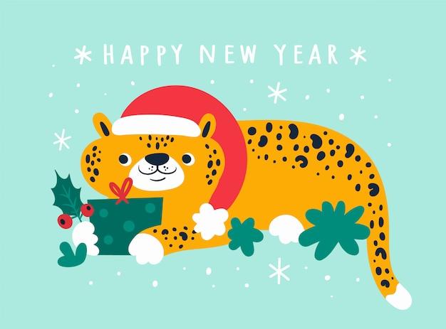 Feliz ano novo 2020 desejo e adorável leopardo no chapéu de papai noel com presente