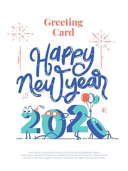 Feliz ano novo 2020 desenhos animados letras cartão postal