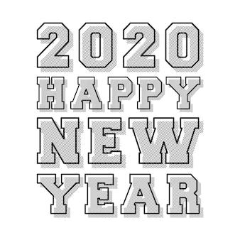 Feliz ano novo 2020 design de carimbo de linha