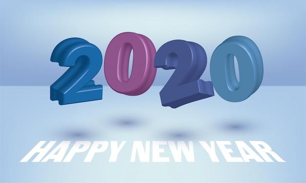Feliz ano novo 2020 design de cartão com números 3d voando