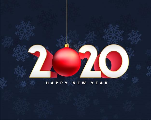 Feliz ano novo 2020 design de cartão de estilo 3d