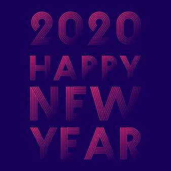 Feliz ano novo 2020 design de linha