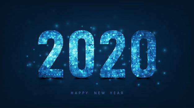 Feliz ano novo 2020 design de texto de logotipo. texto de luxo vector 2020 sobre fundo de cor azul escuro.