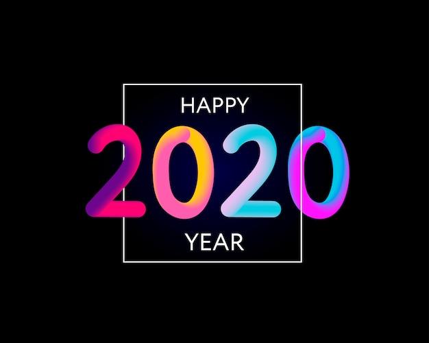 Feliz ano novo 2020 design de texto