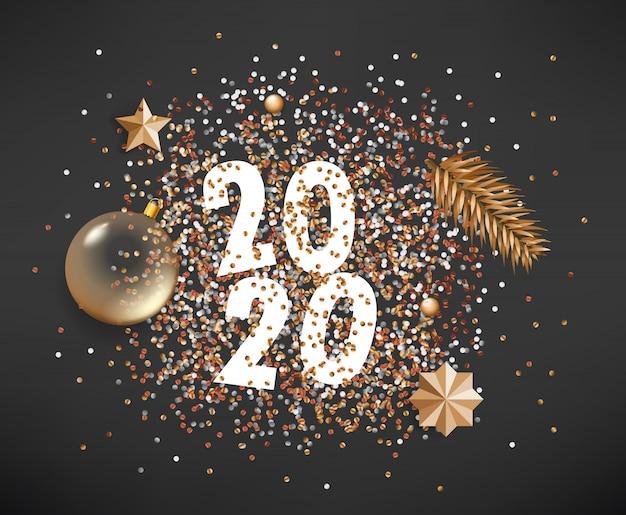 Feliz ano novo 2020 diferentes elementos dourados sobre fundo preto