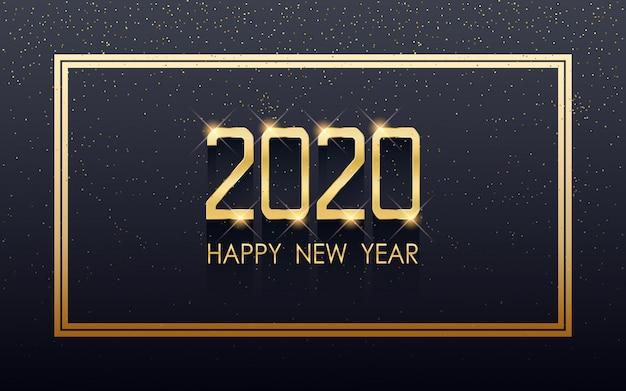 Feliz ano novo 2020 dourado no rótulo quadrado com brilho fluindo sobre fundo de cor preta
