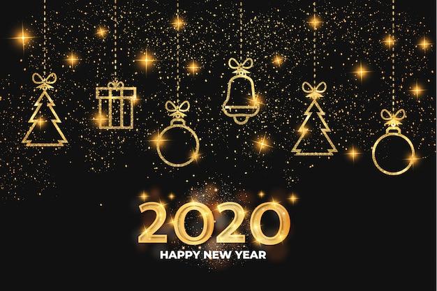 Feliz ano novo 2020 dourado