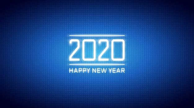 Feliz ano novo 2020 em abstrato tecnologia bolinhas levadas sobre fundo de cor azul escuro