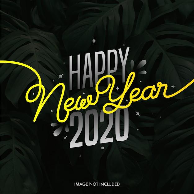 Feliz ano novo 2020 em folhas tropicais.