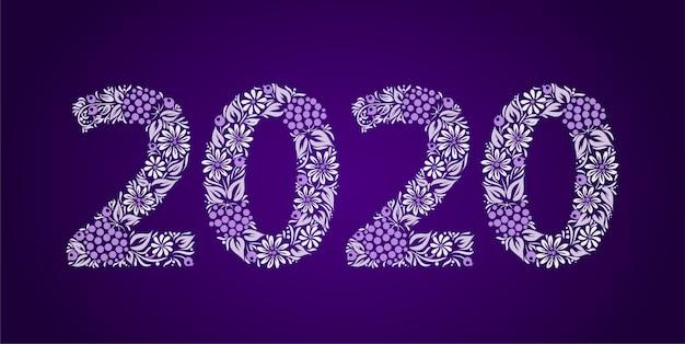 Feliz ano novo 2020. enfeite de flor étnica. estilo tradicional ucraniano.