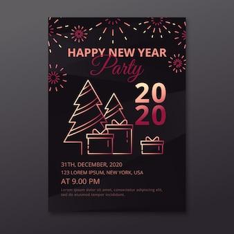 Feliz ano novo 2020 festa cartaz com árvores