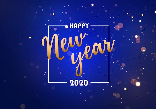 Feliz ano novo 2020. festivas luzes roxas, azuis, douradas.