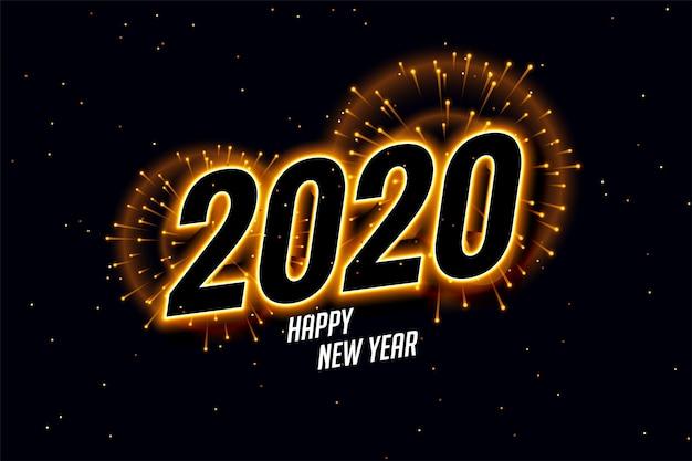 Feliz ano novo 2020 fogos de artifício lindos