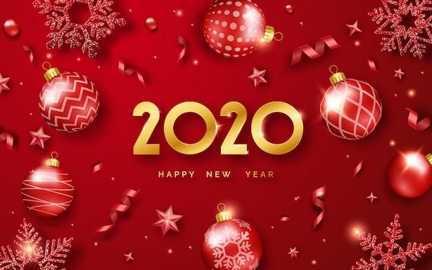 Feliz ano novo 2020 fundo com brilhantes números e fitas