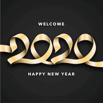 Feliz ano novo 2020 fundo com fita de ouro